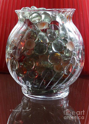 Photograph - M Still Life Collection Glass Beads Glass Jar Reflections No. Slc30 by Monica C Stovall