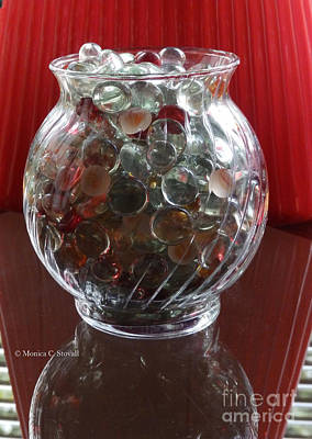 Photograph - M Still Life Collection Glass Beads Glass Jar Reflections No. Slc31 by Monica C Stovall