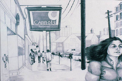 Streetscape Drawing - M Street by Phil Welsher