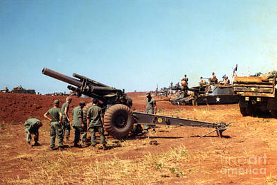 Photograph - M114 155 Mm Howitzer Was A Towed Howitzer 4th Id Pleiku Vietnam Novembr 1968 by California Views Archives Mr Pat Hathaway Archives