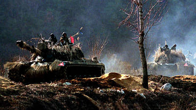 Korean War Painting - M48 Tanks An Tankers On The Job In Korean War by Bob and Nadine Johnston
