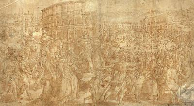 Wash Drawing - Maarten De Vos Flemish, 1532 - 1603, A Roman Triumph by Quint Lox