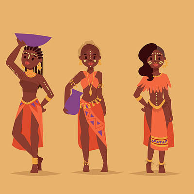 Digital Art - Maasai African People In Traditional by Vectormoon