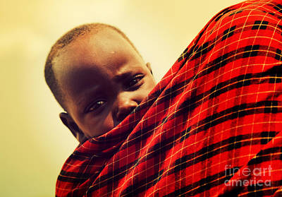 Maasai Baby Carried By His Mother In Tanzania Art Print