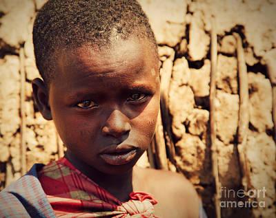 Maasai Child Portrait In Tanzania Print by Michal Bednarek