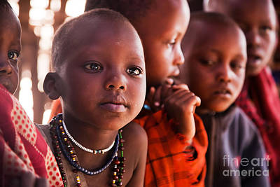 Eye Photograph - Maasai Children In School In Tanzania by Michal Bednarek