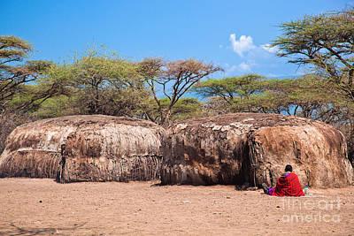 Maasai Huts In Their Village In Tanzania Art Print
