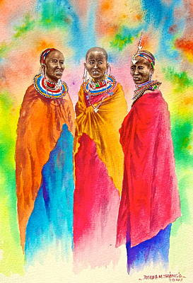 Painting - Maasai Life 14 by Joseph Thiongo
