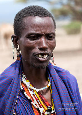 Dress Photograph - Maasai Man Portrait In Tanzania by Michal Bednarek