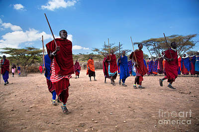 African Traditional Dances Photograph - Maasai Men In Their Ritual Dance In Their Village In Tanzania by Michal Bednarek