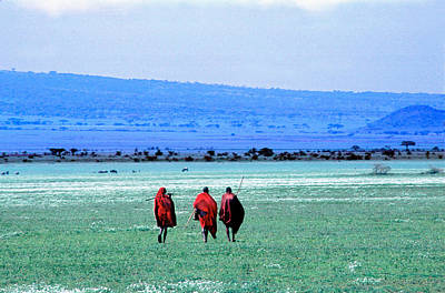 African Warriors Photograph - Maasai On Serengeti Africa by Panoramic Images