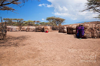Group Photograph - Maasai People In Their Village In Tanzania by Michal Bednarek