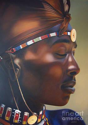 Beadwork Painting - Maasai Warrior  by Edgar Pretorius
