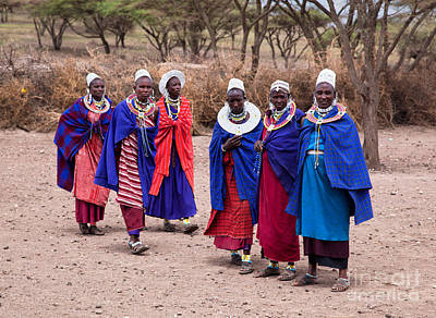 Clothes Photograph - Maasai Women In Front Of Their Village In Tanzania by Michal Bednarek