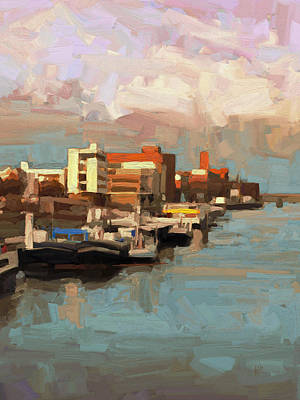 Meuse Painting - Maastricht Harbour by Nop Briex