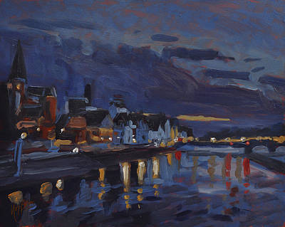 Nocturne Painting - Maastricht In Sunset Sky by Nop Briex