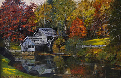 Mabry Mill Painting - Mabry Mill At Dusk by Aurelia Nieves-Callwood
