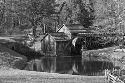 Photograph - Mabry Mill Black And White Reflections by Adam Jewell