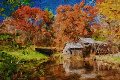 Fall Mixed Media - Mabry Mill by Garland Johnson