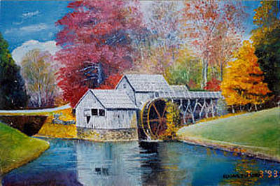 Mabry Mill Painting - Mabry Mill In Floyd County Virginia by Anne-Elizabeth Whiteway