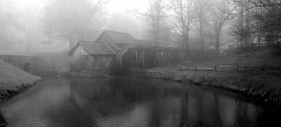Photograph - Mabry Mill In Fog Bw by Diannah Lynch