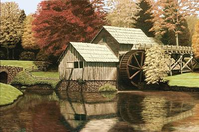 Grist Mill Painting - Mabry Mill In Virginia by Kelvin Seabolt