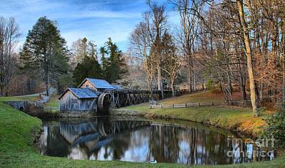 Photograph - Mabry Mill Pond At Dusk by Adam Jewell