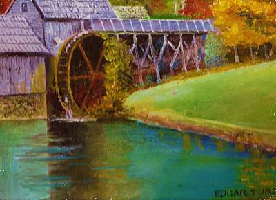 Mabry Mill Painting - Mabry Mill Side View  by Anne-Elizabeth Whiteway