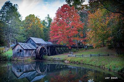 Split Rail Fence Photograph - Mabry Mill  by Walt  Baker