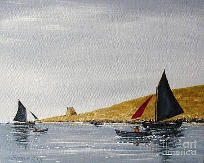 Currach Painting - Mac Dara's Island In Sight by Yvonne King