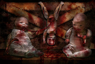 Photograph - Macabre - Dolls - Having A Friend For Dinner by Mike Savad