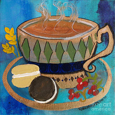 Art Print featuring the painting Macaroons And Tea by Robin Maria Pedrero