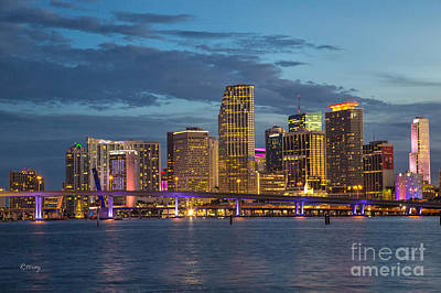 Miami As The Sun Sets Art Print by Rene Triay Photography