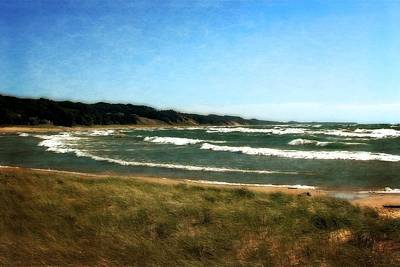Sandblasted Photograph - Macatawa Beach With Waves by Michelle Calkins