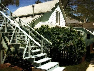 Coastal Photograph - Macatawa Cottage Stairway by Michelle Calkins