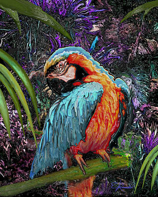 Macaw Mixed Media - Macaw by Edwin Rosado