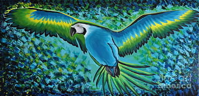 Painting - Macaw In Flight by Preethi Mathialagan
