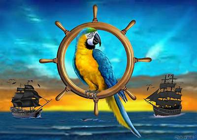 Digital Art - Macaw Pirate Parrot by Glenn Holbrook