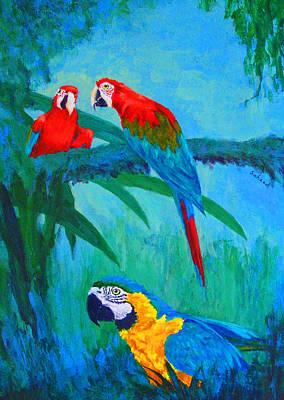Macaw Trio Print by Margaret Saheed