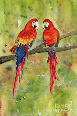 Painting - Scarlet Macaws by Melly Terpening