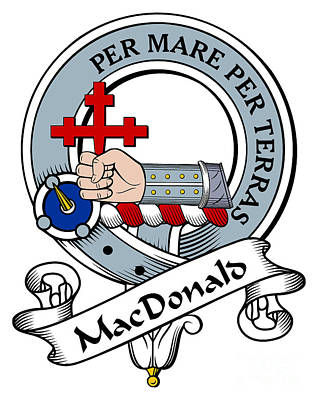 Macdonald Of Sleat Clan Badge Art Print by Heraldry