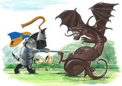 Scottish Terrier Watercolor Painting - Macduff And The Dragon by Margaryta Yermolayeva