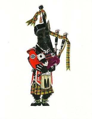 Scottish Dog Painting - Macduff And The Pipes by Margaryta Yermolayeva