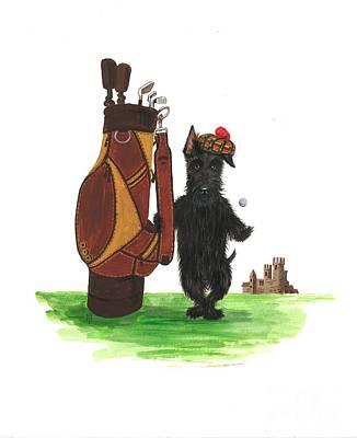 Scottish Terrier Watercolor Painting - Macduff Plays Golf by Margaryta Yermolayeva
