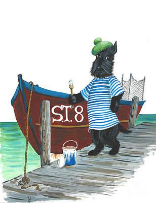 Scottish Terrier Watercolor Painting - Macduff The Sailor by Margaryta Yermolayeva