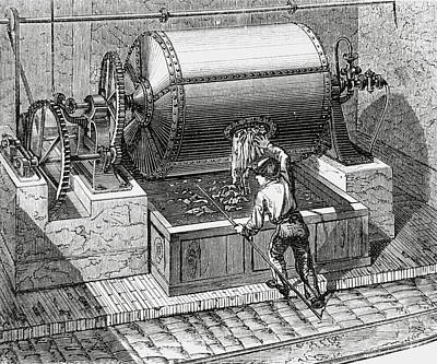 Macerating Wood Chips To Make Paper In The 1870s. Art Print