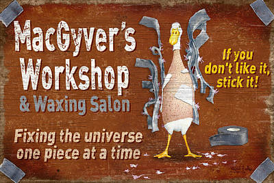 Macgyvers Workshop Art Print by JQ Licensing