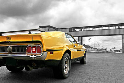 Ford Mustang Racing Photograph - Mach1 Mustang Rear At The Drag Strip by Gill Billington
