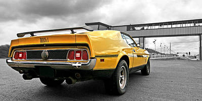 Classic Car Photograph - Mach1 Mustang Rear Panoramic At The Drag Strip by Gill Billington