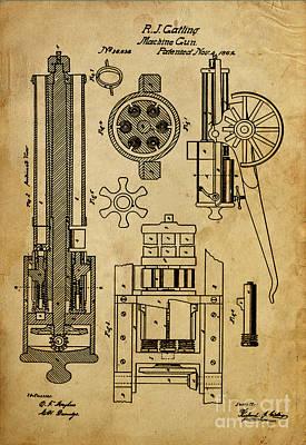 1900 Drawing - Machine Gun - Patented On 1862  by Pablo Franchi